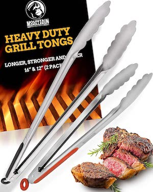 "Grill Tongs for Cooking BBQ - Heavy Duty Grilling Tongs for Cooking & Serving Food in The Sizes You Need - 12 & 16"" - Long Locking Stainless Steel Tongs for Kitchen & Barbecue - No More Burnt Hands"