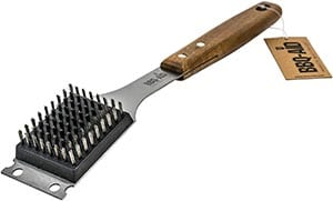 BBQ-Aid Barbecue Grill Brush and Scraper – Extended, Large Wooden Handle and Stainless Steel Bristles