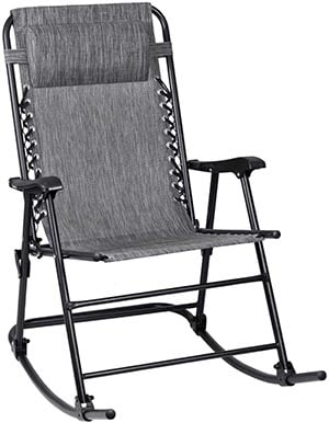 Flamaker Patio Rocking Chair Zero Gravity Chair Outdoor Folding Recliner Foldable Lounge Chair Outdoor Pool Chair for Patio, Poolside and Camping (Grey)
