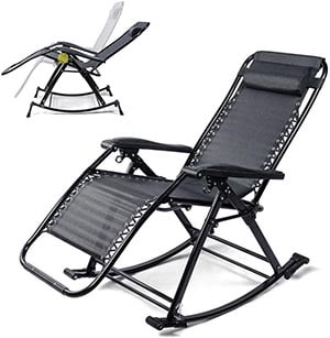 KEOA Rocking Chair Folding Sun Lounger Adjustable Garden Chair Deck Chair Armchair Garden Furniture Home for Patio Pool Garden Beaches