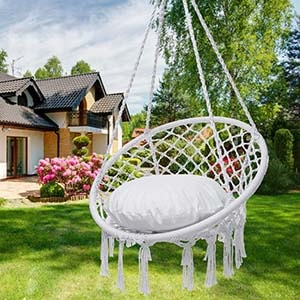 Y-Stop Hammock Swing Chair for Indoor and Outdoor Use (White)