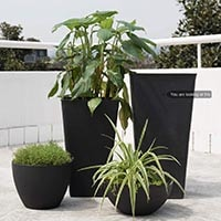 tall green planters for balcony privacy