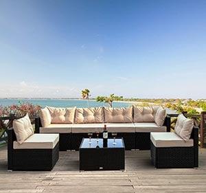 Amolife 7 Pieces Patio Rattan Sofa Chair Set Outdoor