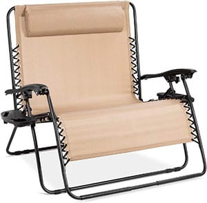 Best Choice Products 2-Person Double Wide Adjustable Folding Steel Mesh Zero Gravity Lounge Recliner Chair