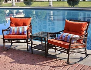DECMICO Outdoor Rattan Rocking Chair 3 Pieces Patio Conversation Furniture Bistro Sets with Side Table and Orange Cushions