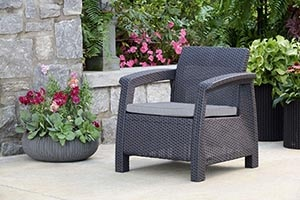 Keter Chair for Outdoor Seating with Washable Cushion