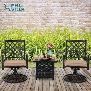 Swivel Patio Chairs Set of 2 Outdoor Dining Rocker Chair Support 300 lbs for Garden Backyard Bistro Furniture Set with Cushion