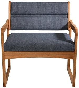 Wooden Mallet DWBA1-1 Valley Bariatric Guest Chair, Medium Oak/Cabernet Burgundy
