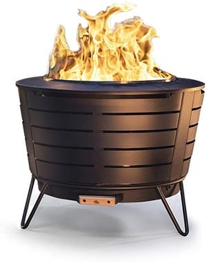 TIKI Brand 25 Inch Stainless Steel Low Smoke Fire Pit - Includes Free Wood Pack and Cloth Cover